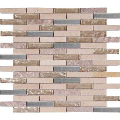 Vienna Blend 12 in. x 12 in. x 8 mm Glass Metal Stone Mesh-Mounted Mosaic Tile