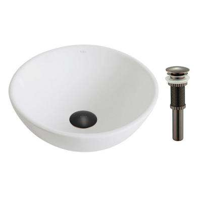 Elavo Small Round Ceramic Vessel Bathroom Sink in White with Pop Up Drain in Oil Rubbed Bronze