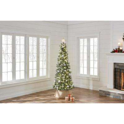 7 ft. Pre-Lit LED Sparkling Amelia Pine Slim Artificial Christmas Tree with 300 Warm White Micro-Dot Lights