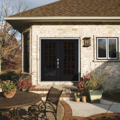 72 in. x 80 in. Black Painted Steel Left-Hand Inswing 15 Lite Glass Active/Stationary Patio Door