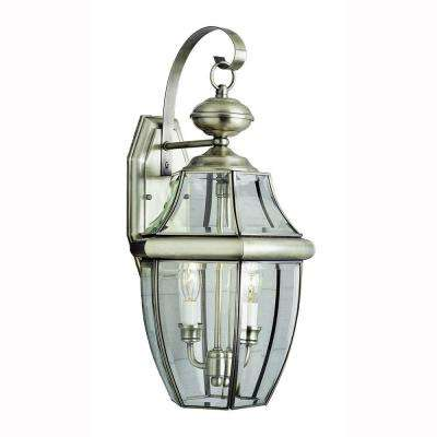 Contemporary 2-Light Brushed Nickel Outdoor Coach Lantern with Clear Glass