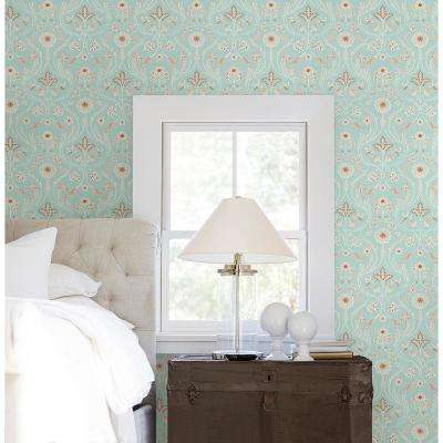 56.4 sq. ft. Island Turquoise Damask Wallpaper