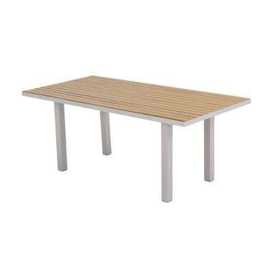 Euro 36 in. x 72 in. Textured Silver Patio Dining Table with Plastique Natural Teak Top