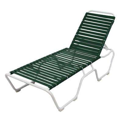 Marco Island White Commercial Grade Aluminum Patio Chaise Lounge with Green Vinyl Straps (2-Pack)