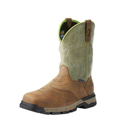 Men's Rye Brown/Olive Green Rebar Flex Western Waterproof Pull On Work Boot