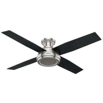 Dempsey 52 in. Low Profile No Light Indoor Brushed Nickel Ceiling Fan