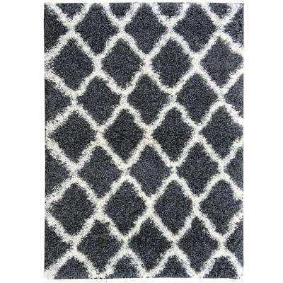 Cozy Shag Collection Charcoal Gray and Cream Moroccan Trellis Design 7 ft. 10 in. x 9 ft. 10 in. Area Rug