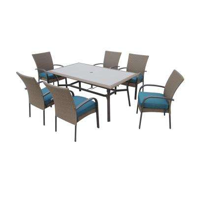 Corranade 7-Piece Wicker Outdoor Dining Set with Charleston Cushions