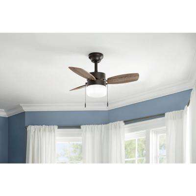 Triplicity 30 in. Indoor Oil-Rubbed Bronze Ceiling Fan with Light