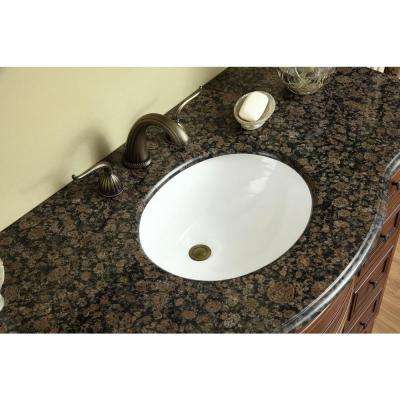 Yorktown 48 in. Vanity in Dark Cherry with Granite Vanity Top in Baltic Brown with White Under-Mount Sink