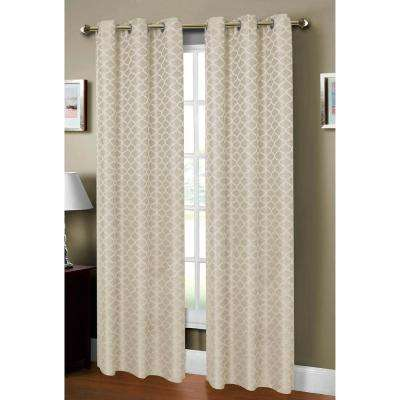 Semi-Opaque Sonata Woven Lattice Jacquard 76 in. x 84 in. Grommet Curtain Panel Pair (2-Pack)