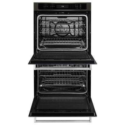 27 in. Double Electric Wall Oven Self-Cleaning with Convection in Black Stainless