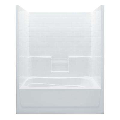 Everyday 60 in. x 42 in. x 74 in. Right Drain 1-Piece Bath and Shower Kit in White