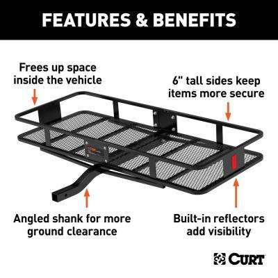 "60"" x 24"" Black Steel Basket Cargo Carrier (Fixed 2"" Shank, 500 lbs.)"