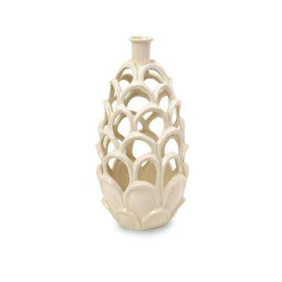 Lenor 15.75 in. Ceramic Decorative Vase in Ivory