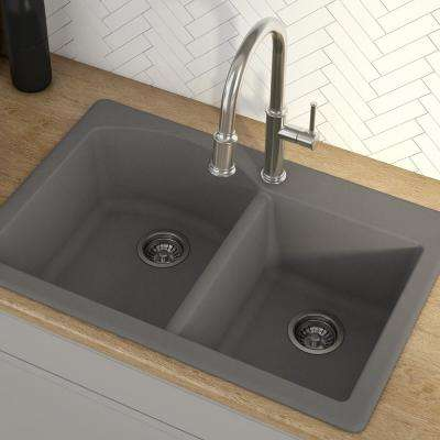 Forteza All-in-One Drop-In/Undermount Granite Composite 33 in. 1-Hole 60/40 Double Bowl Kitchen Sink in Grey