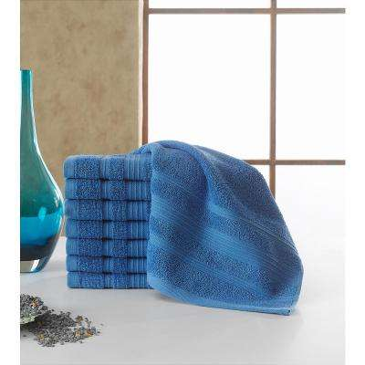 Solomon Collection 13 in. W x 13 in. H 100% Turkish Cotton Bordered Design Luxury Washcloth in Blue (Set of 16)