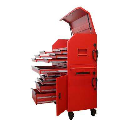 44 in. 12-Drawer Tool Chest and Cabinet Combo with Extended Side Table in Matte Red