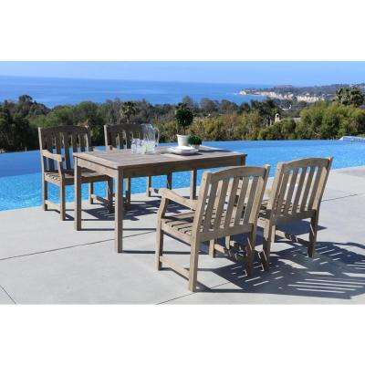 Renaissance Hand-Scraped Acacia 5-Piece Patio Dining Set with 32 in. W Table and Arched Slat-Back Armchairs