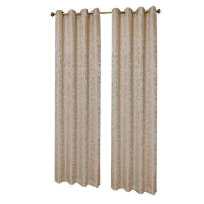 Alpine Textured Woven Leaf Jacquard Grommet Curtain Panel, 54 in. W x 84 in. L
