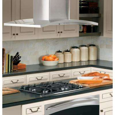 Profile 36 in. Designer Island Range Hood with Light in Stainless Steel