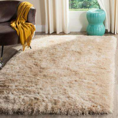 Shag Champagne 8 ft. x 10 ft. Area Rug
