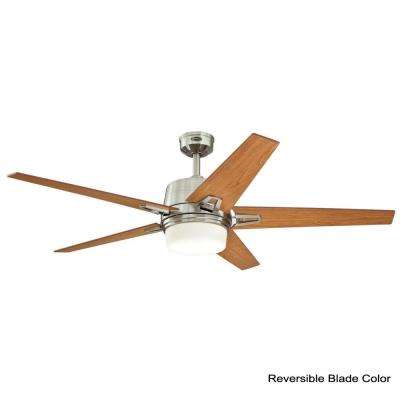 Zephyr 56 in. LED Indoor Brushed Nickel Ceiling Fan with Remote Control
