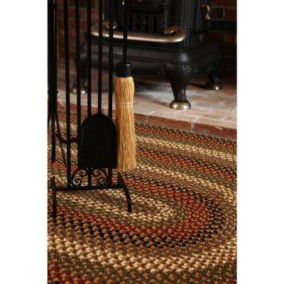 Country Medley Natural Earth 7 ft. x 9 ft. Oval Indoor/Outdoor Braided Area Rug