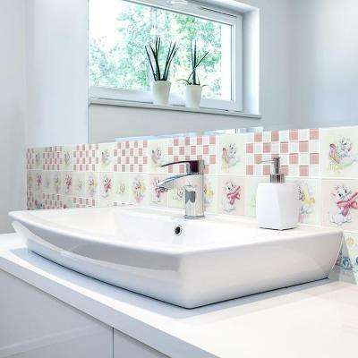 Aristocats Pink 11-3/4 in. x 11-3/4 in. x 5 mm Glass Mosaic Tile