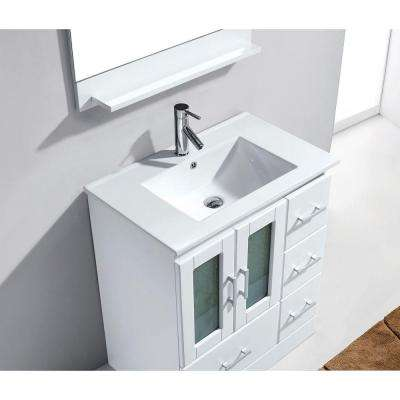 Zola 30 in. W Bath Vanity in White with Ceramic Vanity Top in Slim White Ceramic with Square Basin and Mirror and Faucet