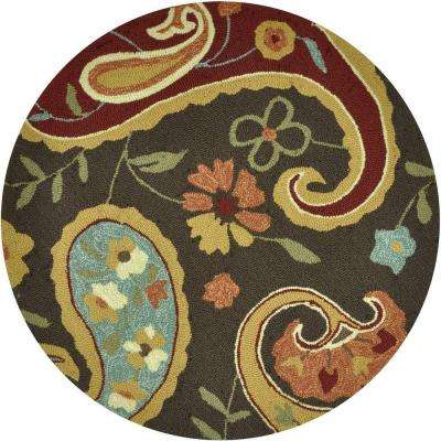 Summerton Lifestyle Collection Chocolate/Multi 3 ft. Round Area Rug