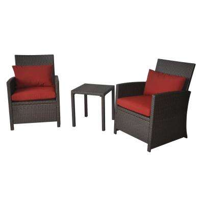 Jayne Dark Brown 3-Piece Wicker Outdoor Patio Bistro Set with Chili Red Cushions