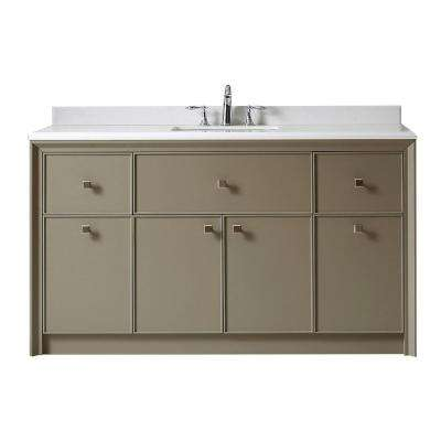 Parrish 60 in. W x 22 in. D Vanity in Mushroom with Marble Top in Yves White with White Basins