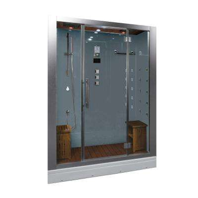 59 in. x 32 in. x 87.4 in. Steam Shower Enclosure Kit in White