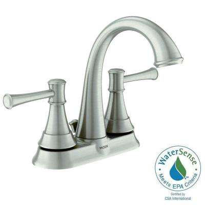 Ashville 4 in. Centerset 2-Handle Bathroom Faucet with Microban Protection in Spot Resist Brushed Nickel