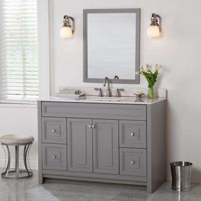 Brinkhill 49 in. W x 22 in. D Bathroom Vanity in Sterling Gray with Stone Effect Vanity Top in Pulsar with White Sink