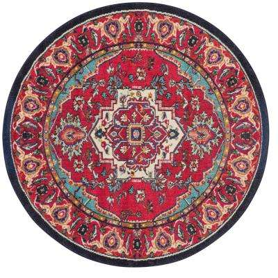 Monaco Red/Turquoise 6 ft. 7 in. x 6 ft. 7 in. Round Area Rug