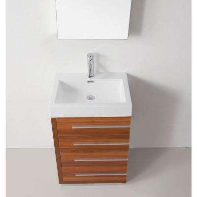 Bailey 24 in. W Bath Vanity in Plum with Vanity Top in White with Square Basin and Mirror and Faucet