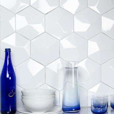 Bethlehem 3D Hexagon White 5.9 in. x 6.96 in. x 8mm Polished Ceramic Wall Tile (25 pieces / 5.4 sq. ft. / box)