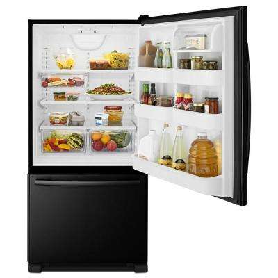 33 in. W 22.1 cu. ft. Bottom Freezer Refrigerator in Black