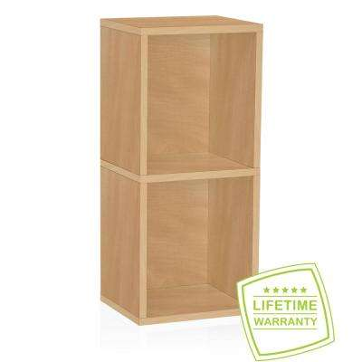 Deux 2-Shelf Narrow zBoard Paperboard 11.2 x 13.4 x 30.2 Tool-Free Assembly Bookcase Storage Shelf in Natural Grain