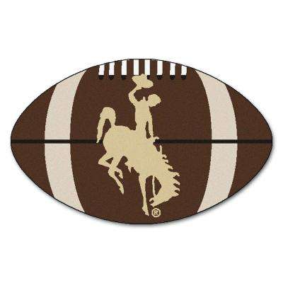 FANMATS NCAA University of Wyoming Cowboy Logo Brown 1 ft. 10 inch x 2 ft. 11 inch Specialty Accent Rug
