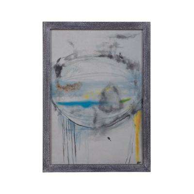 "28 in. x 20 in. ""Abstract Eye"" Framed Hand Painted Paper Under Glass Wall Art"