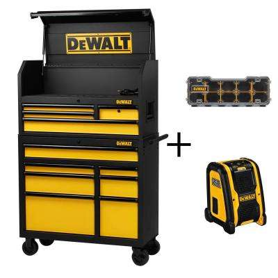 40 in. 11-Drawer Tool Chest and Rolling Tool Cabinet Set, Black with Bonus Radio and Storage Organizer