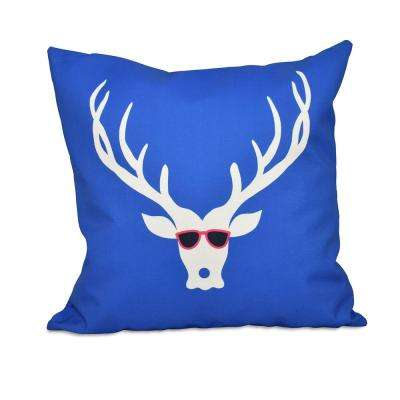 16 in. x 16 in. Cool Dude Decorative Holiday Pillow in Dazzling Blue