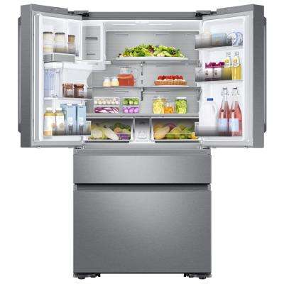 22.2 cu. Ft. Family Hub 4-Door French Door Polygon Handle Smart Refrigerator in Stainless Steel, Counter Depth