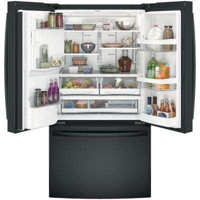 36 in. W 25.8 cu. ft. French Door Refrigerator in Black