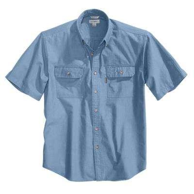 Men's Chambray Cotton Short-Sleeve Wovens
