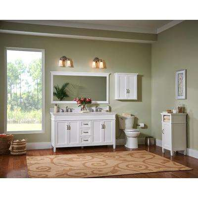 Ashburn 72 in. W x 21.75 in. D Vanity in White with Marble Vanity Top in Carrara White with White Sinks
