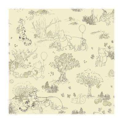 56 sq. ft. Pooh and Friends Toile Wallpaper